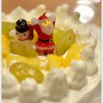 手づくりのクリスマスケーキを囲み。
