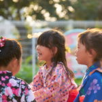 桃色の浴衣、万感の思いで。 -幼稚園 納涼祭
