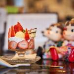 新木珈琲店の苺とティラミスのパフェとポテトサラダサンドモーニング。